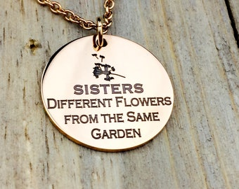 Engraved Sisters from a Different Garden necklace, best friend, besties, family, flowers, love my sister, gift for sister, sister in law