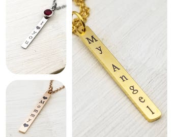 Customized Vertical Bar Necklace, Engraved Bar Necklace, Rose Tone Bar, Gold Tone Bar, Silver Tone Bar, personalized your way