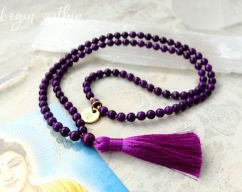 Purple Mala Beads | Purple Tassel Necklace | 108 Mala Beads in Purple Magnesite | Prayer Beads