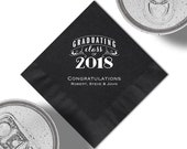 Personalized 2018 Graduation Beverage Napkins Or Luncheon Napkins With Design, Napkin And Foil Color Options. See Thumbnail Images.