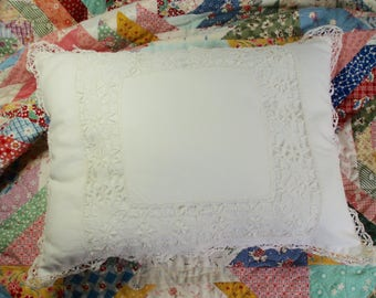 Shabby Chic Vintage Lace Edged Pillow Cluny Lace Edged Pillow