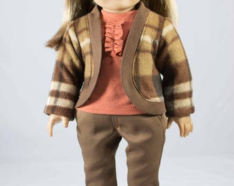 American Girl or 18 Inch Doll JEANS Pants in Brown with JACKET Cardigan TEE Shirt in Pumpkin Orange with Boots Option