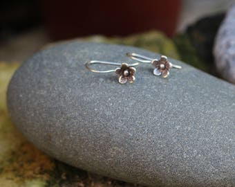 Thai Hill Tribe Silver, Flower Earing, Silver Earing, Boho Silver, Karen Hill Tribe, Loop Earing