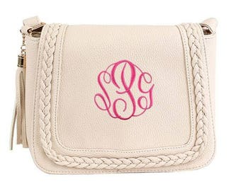 Monogrammed Purse with Tassel | Personalized Handbag | Personalized Tassel Purse | Personalized Crossbody | Blush