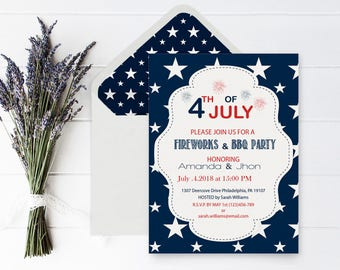 4th of July Invitation with Envelope Liners, Independence Day, BBQ/Celebration/Party Invitations Editable PDF Templates, DIY You Print