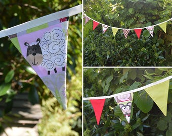 Handmade Fabric Bunting Brown/Red Cheeky Animals & Brown/White Dot Red/Green Design 16 Medium Double-Sided Flags for Home, Parties and more!