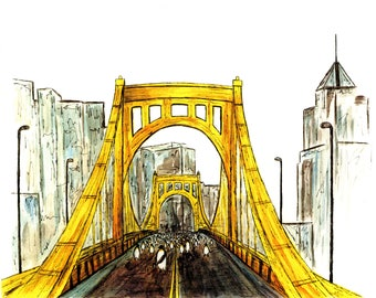 Pittsburgh Penguins, Pittsburgh skyline, Pittsburgh bridge, Clemente Bridge, Penguins, Watercolor art, Pittsburgh Art, Pittsburgh Hockey