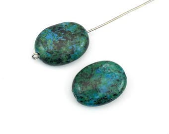 2 chrysocolla stone beads, 15mm x 20mm #PP134-2