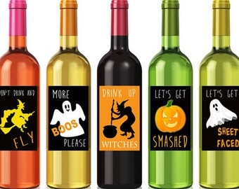Printable Halloween Wine Labels, Funny Halloween Labels, Halloween Party Decor Halloween Gift, Drink up Witches Custom Wine Labels Set of 5