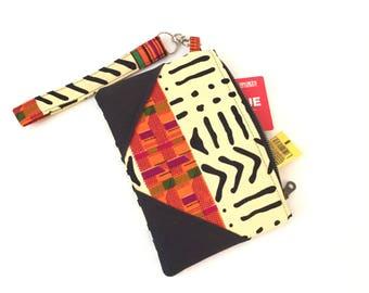 Kente Mudcloth wristlet, wristlet clutch, wristlet, zip clutch wallet, zip clutch, black clutch purse, evening bag, clutch purses for women