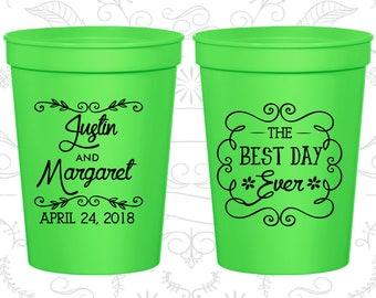 Neon Green Stadium Cups, Neon Green Cups, Neon Green Party Cups, Neon Green Wedding Cups (384)