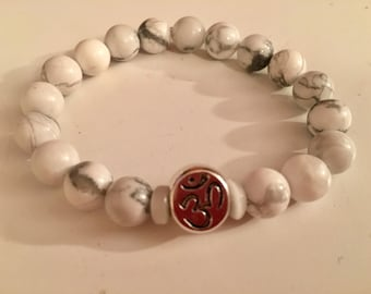 OM Charm With Howlite Beads