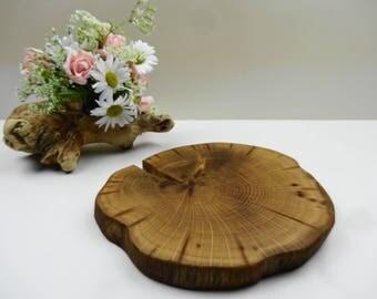 "7.5"" Wood Slice, Stump Slice,Cake Stand, Wooden Platter, Tree Slice, Reclaimed Wood, Oak Wood Slice, Wooden Charger, Oak Slab"