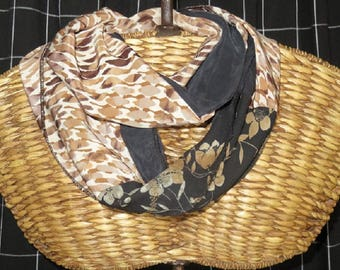 Scarf, Unique combination of fabrics,One only ,Blacks,Browns,Caramel,Tans, Floral