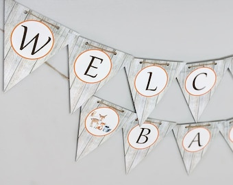 Woodland Baby shower Banner, Welcome Baby Banner, Woodland Welcome baby Banner Ready to Ship HM111