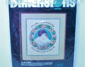 """Dimensions Crewel Kit #1311 To Be A Child Vintage 1986 Sealed 12"""" x 14"""""""