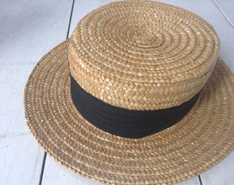 Vintage Straw Boater Hat By K R Snoxell & Sons Ltd  Size Large