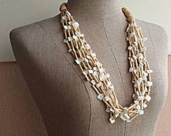 Natural Necklace - Wood Shell Beads - Multi strand - Eco Gift for Her