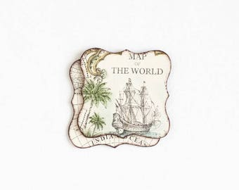 """Wooden coasters """"Old World Map"""", set of 2 coasters, Old Map, Rustic Coaster, Wood Coaster, Handmade Coaster, Drink Coaster, Gift for Her"""
