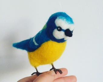 Needle felted blue tit bird wool ornament made to order
