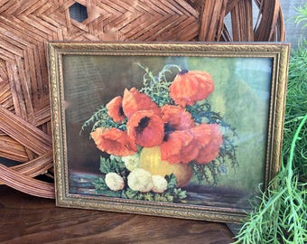 Antique Framed Print of Red Poppies, Framed Floral Wall Decor