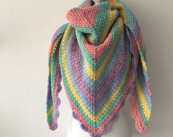 Crochet shawl pastel Rainbow Bohemian