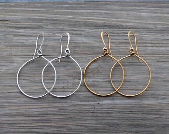 Hoop Earrings - Silver Hoop Earrings - Gold Hoop Earrings - Simple Earrings - Modern Earrings - Minimalist Earrings, Gifts under 10