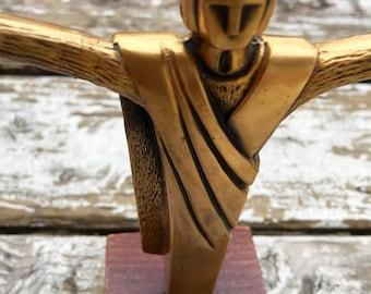 1970s Gilderbaus Spiritual Religious Bronze Metal Heavy Man Sculpture Art Statue