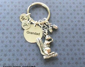 Personalised Grandad gift - Birthday gift for Grandad - Squirrel keyring - Grandad keyring - Woodland gift - Squirrel keychain - Etsy UK
