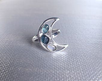 moon ring, gemstone ring, tourmaline ring, ooak ring, bespoke jewelry, gift for her, blue tourmaline ring, raw crystal ring, crescent moon
