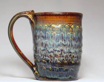 handmade tea cup, 10oz pottery mug, original pottery mug