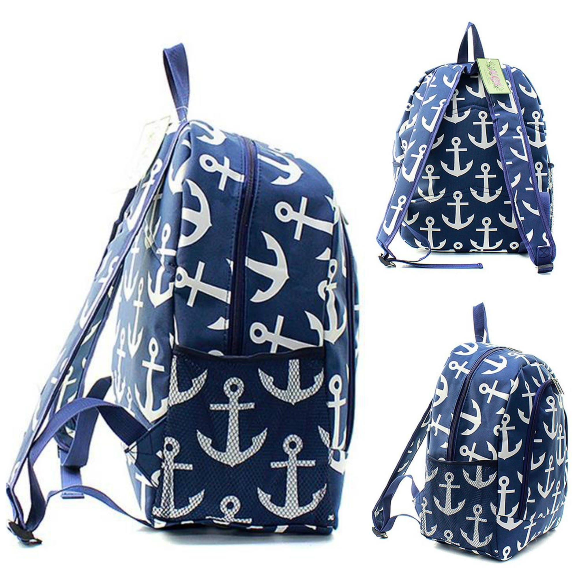 monogrammed backpack full size 17 kids bookbag book tote