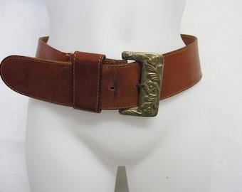 Hippie Belt Brass Buckle Boho Belt 1970's Belt Brown Leather