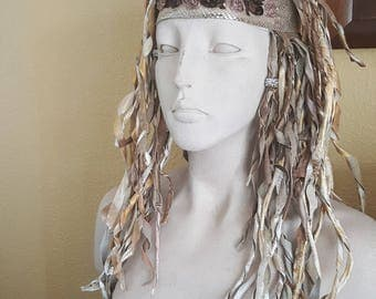 Gold and white leather dredlock fantasy wig