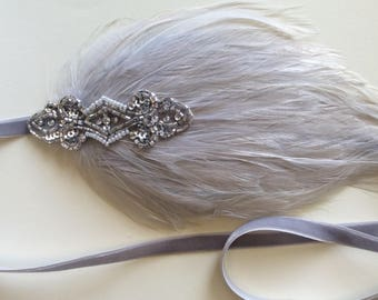 1920s headpiece, silver headband. Great gatsby headband, feather headband, black feather, silver Feather, flapper headband, flapper dress