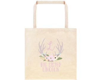 Big Sister Personalized Flower Antler Tote Bag // Custom Canvas Big Sister Gift Bag // Boho Big Sis Tote Bag