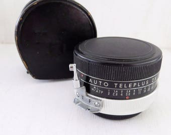 Kenko NI Auto Teleplus 2X Lens - From 1960s with lens covers and leather case