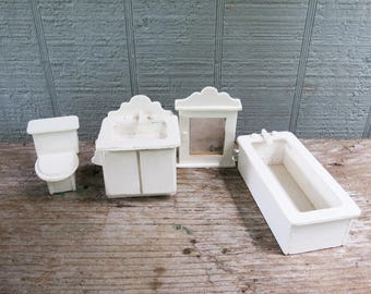 vintage dollhouse bathtub sink medicine cabinet and toilet white wood dollhouse bathroom accessories