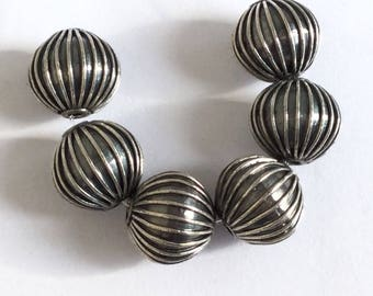 10mm round Bali Sterling Silver oxidized Spacer Beads