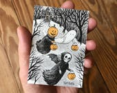 Original ACEO, Pen and Ink Drawing with Ink Wash and Watercolor, Trick-or-Treat Friends, Inktober 2017 Halloween Art by Laurie A. Conley