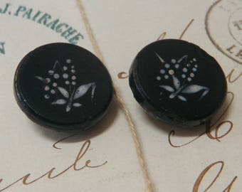 2 Antique Black Glass Buttons with Enamel Wheat Design
