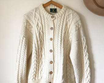 Vintage Chunky Cream Handknitted Aran Cardigan - Irish Cableknit - 100% Pure Wool