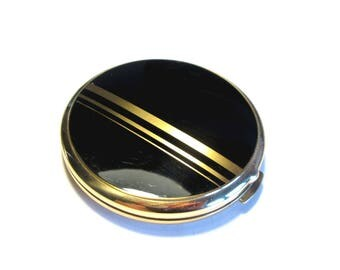 Powder box brass, powder box can brass gold black vanity Yar powder, compact box, powder