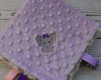 Security Blanket... Gray and Lavender Minky Baby Blanket... Lovey Blanket... Minky Tag Blanket... Mini Baby Blanket