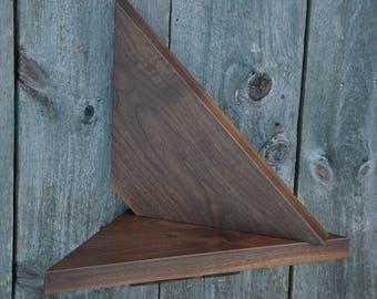 Corner Floating Shelves, Solid Walnut 25 wide, Matching pair
