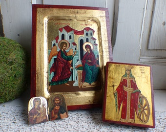 Set of 3 small vintage gilded wood Greek icons. The Anunciation, Jesus & Mary, St. Catherine. Gold Catholic icon on wood. Medieval style