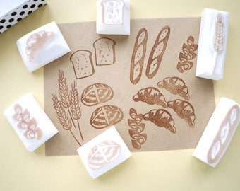 Bread rubber stamps, Bakery decoration set, Japanese stationery, Gift wrapping