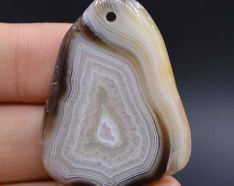 U1729 43mm Charming eye botswana agate freeform pendant focal bead