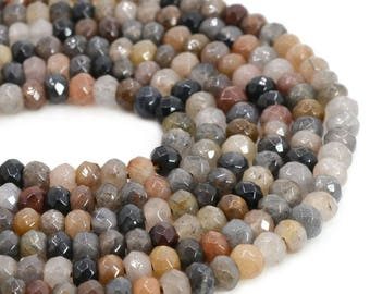 6mmFL08 6mm Faceted multi-color quartz roncelle loose gemstone beads 16""