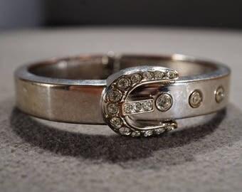 Vintage Art Deco Style Silver Tone Rhinestone Glass Stone Belt Buckle Design Bracelet Bangle Jewelry -K#36